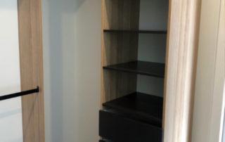 wardrobe storage with black draw inserts